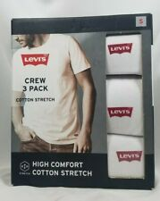 Levi's 3 Pk Crew Neck T-Shirts S White Cotton Stretch, Tag-Free Levis SHIPS FREE