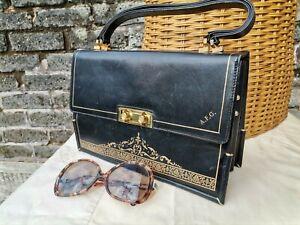 Vintage Original 50s 60s Black Gold Genuine Leather Grab Kelly Bag. Superb...