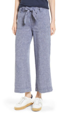 Caslon Wide Leg Crop Linen Pants Navy Crossdye S NWT $65
