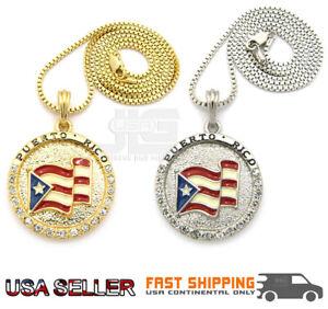 "Puerto Rico Pendant Flag 24"" Box Chain Hip Hop Necklace New"