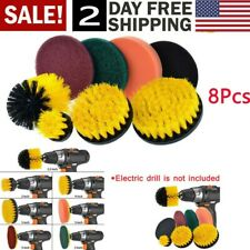 Drill Brush Attachment 8 Pc Set Power Brushes and Scouring Pads For Tile Carpet