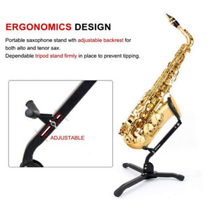 Alto Tenor Saxophone Stand Display Metal Material Triangle Base Design