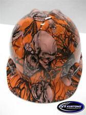 New Custom MSA V Gard Short Brim Hard Hat Orange Mr. Creepy Pattern