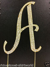 "GOLD Plated Rhinestone  Monogram Letter ""A""  Wedding Cake Topper  5"" inch high"