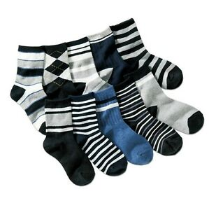 Boy Kid Mixed Socks Bundle 5-pack Check Stripe Black Grey Age 3 4 5 6 7 8