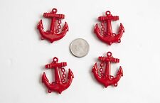 Red Anchor Pendants 39mmx45mm 4 ct. lot for Bubblegum Gum Ball Chunky Necklace