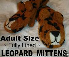 deLux ADULT Leopard MITTENS knit animal puppet costume LINED spotted cat wildcat