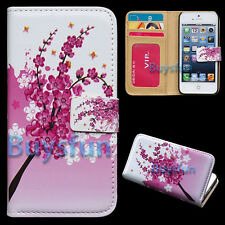 New Flower Card Slot Wallet Leather Cover Case for Apple iPhone 5 5G