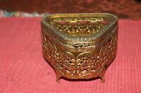 Vintage Ormolu Gilded Gold Metal Trinket Jewelry Box Beveled Glass Top Footed