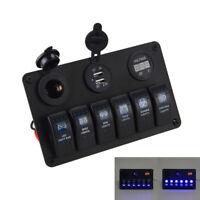 6 Gang Campervan Camper LED Switch Panel 12V 24V Car Boat Motorhome Control