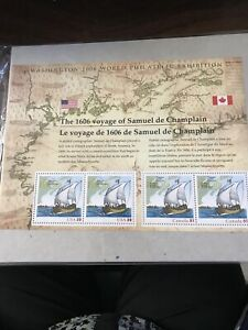 US & Canada Sheet 4 Stamps 2006 World Philatelic Exhibition MNH de Champlain