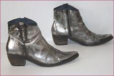 Boots Pointues Cuir Gris Argenté Brillant Doublées Cuir T 41 TBE