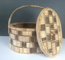 "Zambian African Woven Fixed Handled Basket Extra Large 20"" Container w/ Lid"