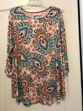 NWT Chico's Sz 16 (3) Women Geometric Multi-Print 3/4 Sleeve Trapeze Top!