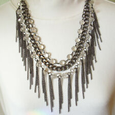 CHAINS Faceted GLASS BEADS 3 Strand Necklace DANGLES Steam PUNK Steel Gray WOW