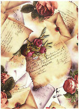 Ricepaper/ Decoupage paper, Scrapbooking Sheets /Craft Paper Letters with Roses