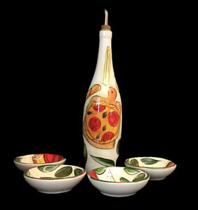Pampered Chef Ceramic Vinegar Oil Dipping Set With 4 Dipping Bowls #2310 Mint