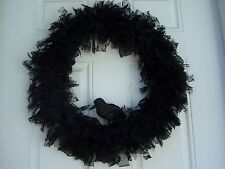 """Mourning Door Wreath """"BLACK ROSE"""" Lace Funeral Sympathy Gothic 18"""" with Raven"""