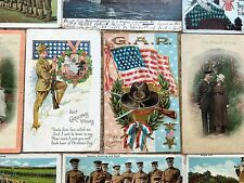 LOT of 10 Old 1907 -1917 EARLY MILITARY WW1 GAR Civil War Vets WWI POSTCARDS VTG