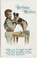 YOUNG BOY - Jack Russell Terrier ? - Birthday Wishes - c1920s era postcard