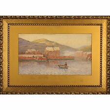 Bryan Whitmore Pointillist Ferry Harbour Crossing Antique Watercolour Painting