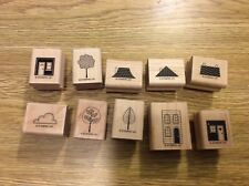 """Stampin' Up! Set 10 Wooden Mounted Rubber Stamps Stamping """"Good Neighbor"""" House"""