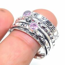 Pink Kunzite Handmade 925 Silver Meditation Spin Jewelry Ring Size 10 AD3908
