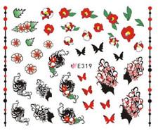 Nail Art Sticker 3D Decals Transfers Black Butterflies Flowers (E319)