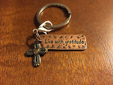 LIVE WITH GRATITUDE Copper Metal Bag Charm Keyring Keychain with brass cross