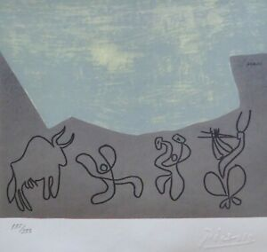 """PABLO PICASSO """"Bacchanal with Bull"""" HAND NUMBERED 135/333 signed LITHOGRAPH"""