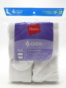 6 pair Womens Ladies Hanes Cushion Crew Socks Extended Size 8-12