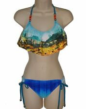 Hobie bikini swimsuit size M blue flounce bra hipster 2 piece swimwear new nwt