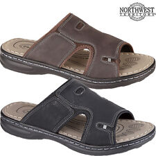 NEW MENS FAUX LEATHER SLIP ON OPEN TOE COMFY CASUAL SUMMER BEACH MULES SANDALS