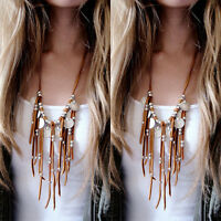 Womens Boho Leather Coin Statement Necklace Charms Jewelry Tassel Necklace Newly