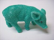 Flocked Pig Figure (Green - turquoise) - This Little Piggy is SO CUTE!