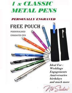 50 x Personalised Custom Engraved Promotional Metal Pens Wedding Business Bulk