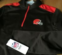 NWT new CLEVELAND BROWNS 1/4 Zip PULLOVER Fleece Lined Jacket Mens S M L XL 2XL