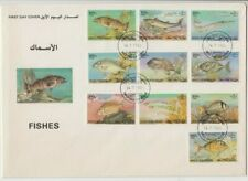 Stamps BAHRAIN 1985 fish set of 10 on official FDC, scarce