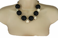 Women Short Black Necklace Metal Gold Star Big Ball Bead Fashion Jewelry Earring