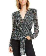 Leyden Women's V-Neck Long Sleeve Paisley Tie-Front Top (Black, XS)