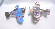 TOYS (2) Planes Die-cast Metal Friction Classic Wing Pre-WWII Military Aircraft