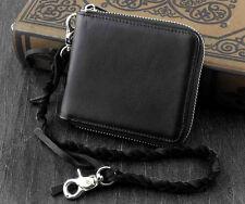 Biker Motorcycle Men Genuine Leather Zipper Money Card Wallet With Chain Black