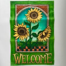 "$7~New 18""x12"" ""Welcome"" Outdoor/Indoor Mini-Flag Sunflowers Yellow+Green Target"