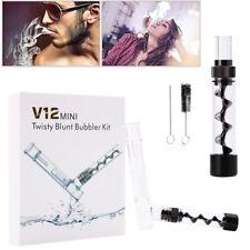 Black Mini Twisty Glass Blunt Smoking Pipe Obsolete Bubbler Set w/ Accessories