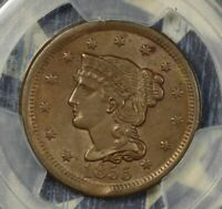 1855 BRAIDED HAIR LARGE CENT COPPER COLLECTOR COIN PCGS AU58 UPRIGHT 55