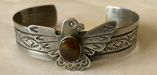 Signed Navajo Sterling Silver Fire Agate Thunderbird Cuff Bracelet