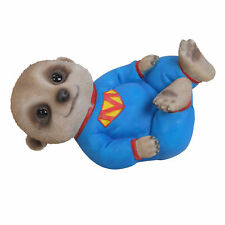 BRAND NEW BABY MEERKAT LAYING WITH SUPERMEERKAT OUTFIT GARDEN ORNAMENT
