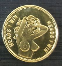 Heads I win Tails you Lose Coin Sexy Nude Naked Lady Brass Gold Lustre Sexy Girl