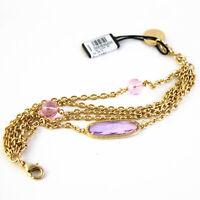 Pulsera UNOAERRE Fashion Jewellery de Latón Dorado con Cristales Rosa
