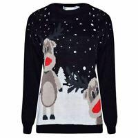Womens Long Sleeve Christmas 2 Rudolph Reindeer Jumper Ladies Unisex Sweater